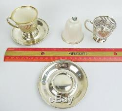 6 Demitasse Set Whiting Co. Sterling Cups & Saucers withLenox Liners Ex Cond
