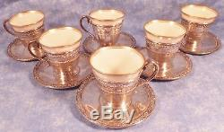 6 Lenox Antique Demitasse Cups W Sterling Holders & Sterling Saucers S mono