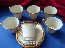 6 Lenox Demitasse Cup & Saucer Eclipse Cobalt Blue & Gold 4-3/4 S & 2-11/16