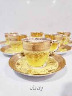 6 Minton For Tiffany yellow Demi-Tasse Gilded Cup & saucer