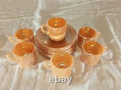 6 Vtg MCM Fire King Anchor Hocking Peach Luster Swirl Demitasse Cups And Saucers