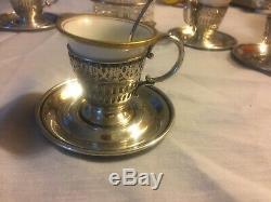 6 Webster Co Sterling Silver Demitasse German Tea Cups, Saucers, Spoons. S+P Set