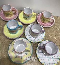 7 CUPS SAUCERS Mackenzie Childs Style LA MUSA Espresso Demitasse DEMI Mugs Cups