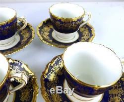 7 Coalport Hazelton Cobalt Blue Porcelain Demitasse Coffee Cup & Saucer Sets