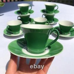 7 Upsala Ekeby Demitasse Espresso Tea Cup & Saucer Set Mid Century Sweden Green