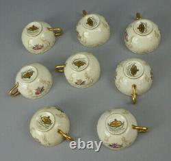 8 Diplomat Rosenthal Ivory Sanssouci Rose Gold Trim Demitasse Cups & Saucers
