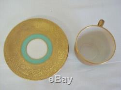 8 Lenox China C303G Demitasse Cups Saucers Gold Encrusted Green Espresso Cup Set