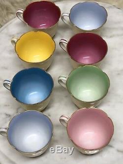 8 NORITAKE MORIMURA Hand Painted Demitasse CUPS & SAUCERS MULTI COLORS NICE