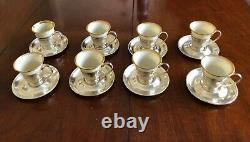 8 Vintage Gorham Sterling Cup Holders/ Saucers with Lenox Demitasse Cup inserts