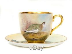 A Royal Worcester China Demi Tasse Cup & Saucer Hand Painted With Game Birds