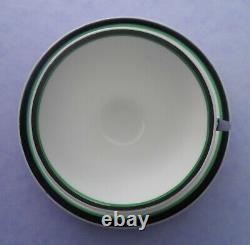 A Shelley Art Deco Green Blocks 11790 Mode shape demitasse cup & saucer C. 1930
