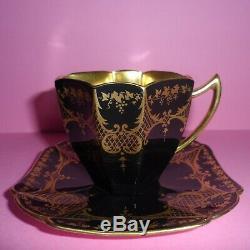 A stunning Shelley Art Deco Queen Anne demitasse/coffee cup & saucer. C1928