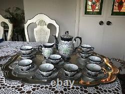 ANTIQUE-10 Floral MITTERTEICH Demitasse Cups Saucers, CREAMER and COFFEE POT
