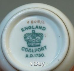 ANTIQUE COALPORT ENGLAND DEMITASSE CUP & SAUCER, PINK with GILDING, c. 1900
