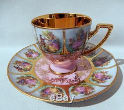 AOFI BAVARIA GERMANY FRAGONARD LOVE STORY Gold Gild Pink DEMI-TASSE CUP & SAUCER