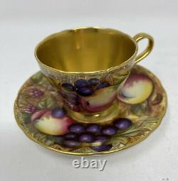 AYNSLEY Bone China Fruit ORCHARD Demitasse Cup & Saucer LUSH GOLD Signed #2