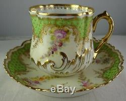 Ambrosius Lamm Dresden Antique Porcelain Demitasse Cup & Saucer Gold and Green