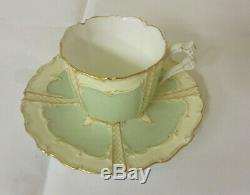 Antique 1800's, Royal Worcester Demitasse Tea Cup & Saucer, Mint Green, Eng