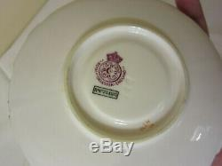 Antique 1800's, Royal Worcester Demitasse Tea Cup & Saucer, Pink, England