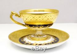 Antique 1850's RK Dresden Germany Porcelain Gold GIlt Demitasse Tea Cup & Saucer