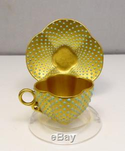 Antique 1891 Coalport Gold Gilt Enamel Dot Mini Demitasse Cup & Saucer