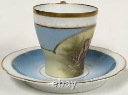 Antique 1891 Rosenthal Victorian Demitasse Cup saucer hand painted scenic teacup