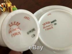 Antique 1900s GINORI Italy Hand Painted Demitasse Cup Saucer Kheveni Egyptomania