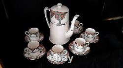 Antique 1920s Crown Ducal ORANGE TREE Coffee Pot/Six Demitasse Cups/Saucers