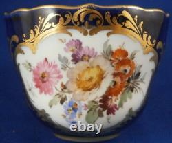 Antique 19thC Meissen Porcelain Cobalt & Floral Demitasse Cup & Saucer Porzellan