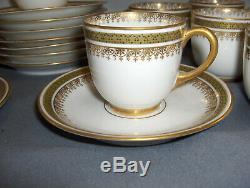 Antique 20 Pc Set Jean Pouyat Limoges 10 Demitasse Cups/Saucers gold design NICE