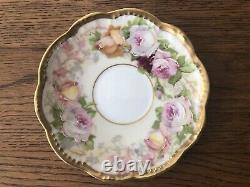 Antique A. K. Limoges Demitasse Cup & Saucer Enameled Roses & Fancy Gold Trim