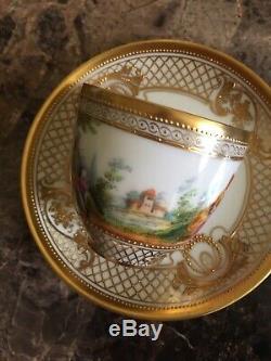 Antique Ambrosius Lamm Demitasse Scenic And Gold Demitasse Cup And Saucer