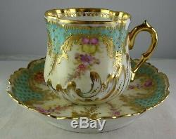Antique Ambrosius Lamm Dresden Porcelain Demitasse Cup & Saucer Heavy Gold Blue