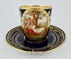 Antique Austrian Demitasse Cup & Saucer, Vienna Style