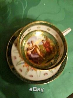 Antique Austrian porcelain Demitasse cup and saucer Footed c 19th Stunning