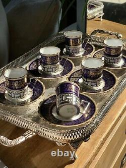 Antique Aynsley Demitasse Cups & Saucers Walker & Hall Solid Silver Deco X Six