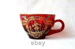 Antique Bohemian Moser ruby red enamel quatrefoil demitasse set 1900-1920