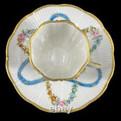 Antique Bourdois Achille Bloch Chocolate Demitasse Cup & Saucer Set Flowers