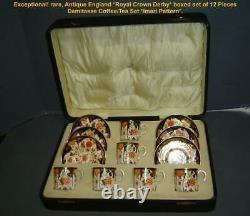 Antique Boxed England Royal Crown Derby Imari Demitasse Cup Saucer Set 12 Pieces