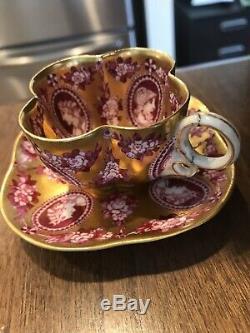 Antique COALPORT AD 1750 England Demitasse Cups & Saucers, Gilt Decor, Cameo