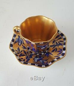 Antique COALPORT England Gold & Cobalt Hand Painted Demitasse Cup & Saucer