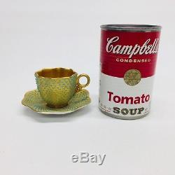 Antique COALPORT Gold Gilt & Turquoise Jeweled Dots Demitasse Cup & Saucer