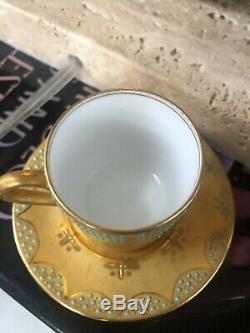 Antique COALPORT Gold Gilt & Turquoise Jeweled Dots Mini Demitasse Cup & Saucer