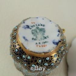 Antique COALPORT Porcelain Gold Jewelled Enamel Cobalt Demitasse Cup & Saucer