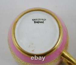 Antique Cauldon Ltd. Demitasse Gilt Pink CUP & SAUCER (1904-1920)