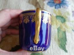 Antique Cfh Haviland Limoges Porcelain Demitasse Cherub Cobalt Blue Cup Saucer