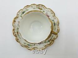 Antique Charles Ahrenfeldt Limoges France Floral & Gold Demitasse Cups & Saucers