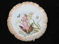 Antique Charles Field Haviland Limoges Snack Plate Saucer with Demitasse Cup