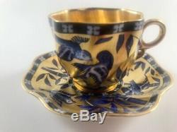 Antique Coalport Cobalt Blue Gilt Birds Bamboo Demitasse Cup & Saucer