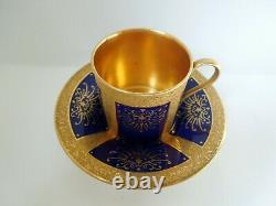 Antique Coalport Cup Saucer Set Classic Can Shape Demitasse Cobalt Embossed Gold